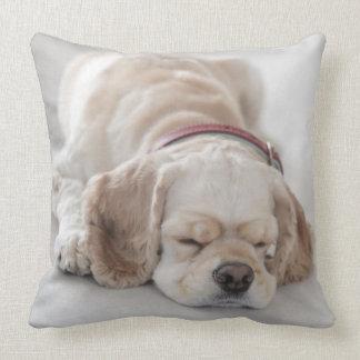 Cocker spaniel dog sleeping throw pillow