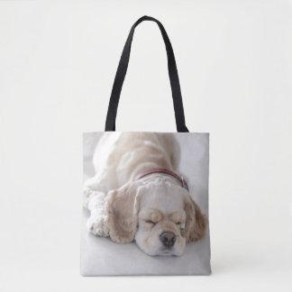 Cocker spaniel dog sleeping tote bag