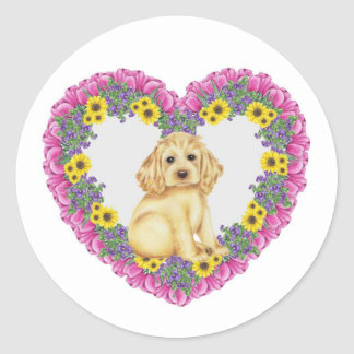 Cocker Spaniel Floral Classic Round Sticker