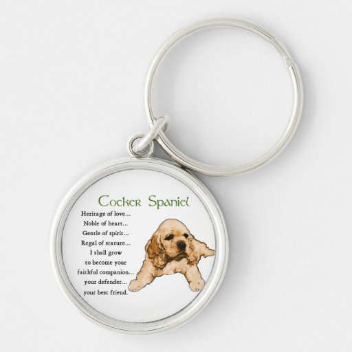 Cocker Spaniel Heritage of Love Silver-Colored Round Keychain