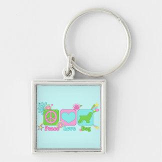 Cocker Spaniel Silver-Colored Square Keychain
