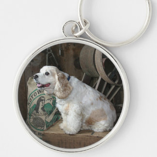 Cocker Spaniel Silver-Colored Round Keychain