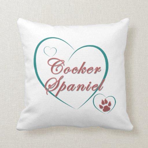 Cocker Spaniel Love Throw Pillows