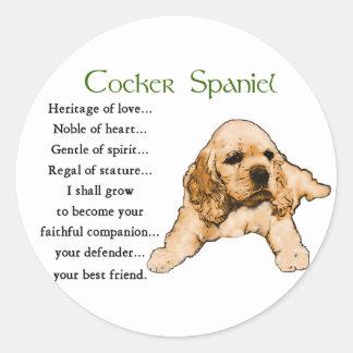 Cocker Spaniel Lovers Gifts Round Sticker