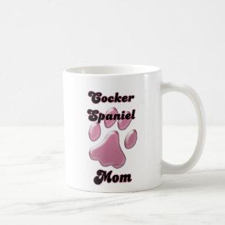 Cocker Spaniel Mom Pink Pawprint  Classic White Coffee Mug