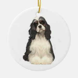 Cocker Spaniel - parti colored Double-Sided Ceramic Round Christmas Ornament