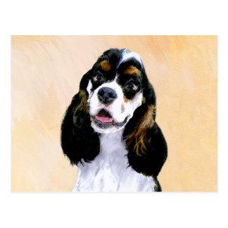 Cocker Spaniel (Parti) Painting - Original Dog Art Postcard