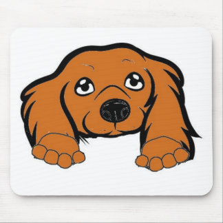 cocker spaniel peeking red mouse pad
