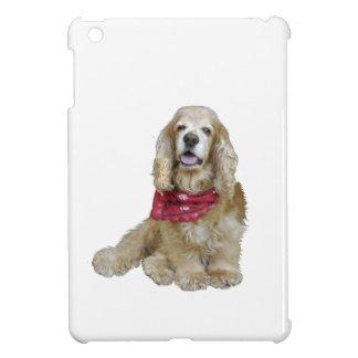 Cocker spaniel - piel de ante con la bufanda roja iPad mini coberturas