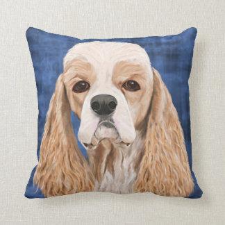 Cocker Spaniel Pillow, Brown Creme Coat on Blue Throw Pillow