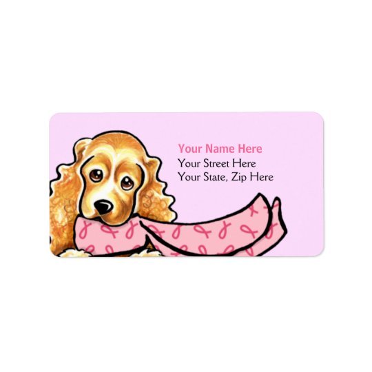 Cocker Spaniel Pink Ribbon Scarf BCA Label