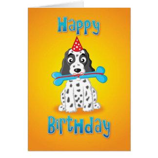 cocker spaniel - presente - feliz cumpleaños tarjetón