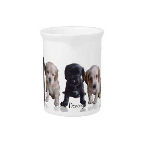 Cocker Spaniel Puppies Drink Pitchers