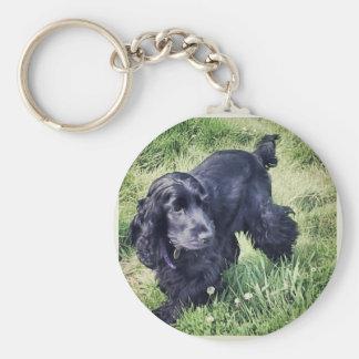 Cocker Spaniel Puppy Basic Round Button Keychain