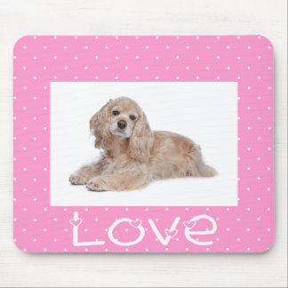 Cocker Spaniel Puppy Love Pink Polka Dot  Mousepad