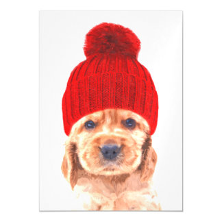 Cocker spaniel puppy with cap portrait magnetic card