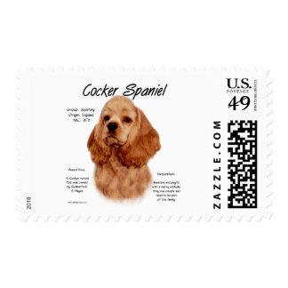 Cocker Spaniel (red) History Design Postage Stamp