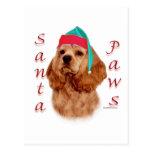 Cocker Spaniel (red) Santa Paws Postcard