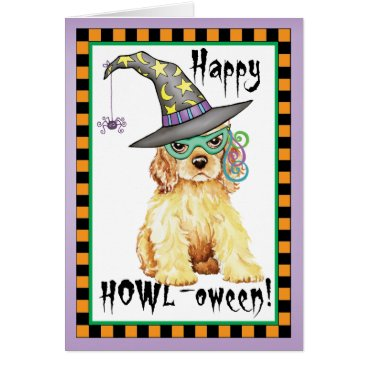 Halloween Themed Cocker Spaniel Witch Card