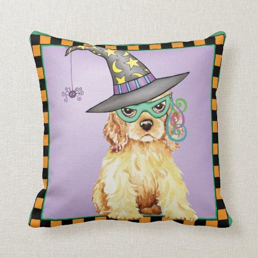 Cocker Spaniel Witch Throw Pillows