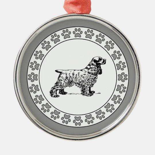 Cocker Spaniel with Pawprints Metal Ornament