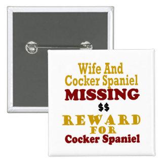 Cocker spaniel y recompensa que falta de la esposa pin