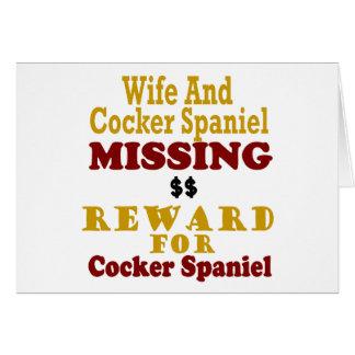 Cocker spaniel y recompensa que falta de la esposa felicitaciones