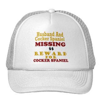 Cocker spaniel y recompensa que falta del marido p gorras de camionero