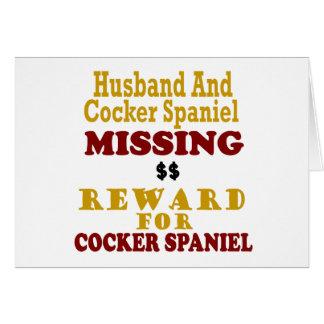 Cocker spaniel y recompensa que falta del marido p felicitación