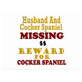 Cocker spaniel y recompensa que falta del marido p postales