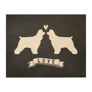 Cocker Spaniels Love - Dog Silhouettes w/ Heart Wood Wall Art