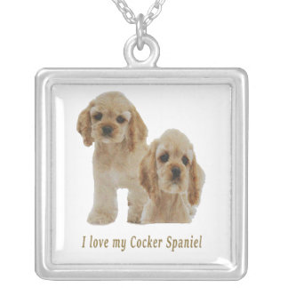 Cocker spaniels silver plated necklace