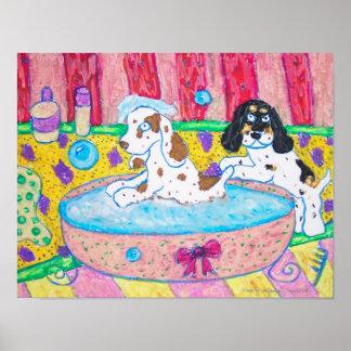 Cocker Spaniels Take a Bath Poster