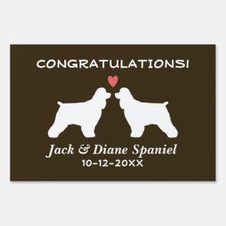 Cocker Spaniels Wedding Couple Congratulations Lawn Sign
