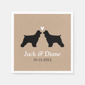 Cocker Spaniels Wedding Couple with Custom Text Paper Napkin