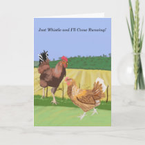 Cockerel and Chicken Editable Holiday Card