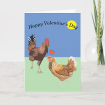 Cockerel and Chicken Funny Valentine's Holiday Card