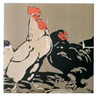 Cockerel and Hen (colour litho) Ceramic Tile