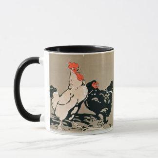 Cockerel and Hen (colour litho) Mug