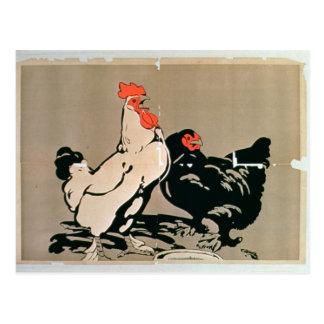 Cockerel and Hen (colour litho) Postcard