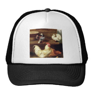 Cockerel Hen And Chicks With Pigeons Farm Animals Trucker Hat