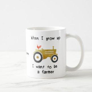 Cockerel & Yellow Tractor-I want to be a farmer. Coffee Mug