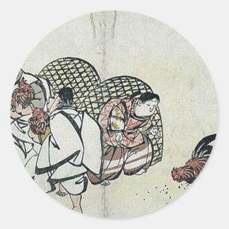 Cockfight by Taki, Katei Ukiyoe Classic Round Sticker