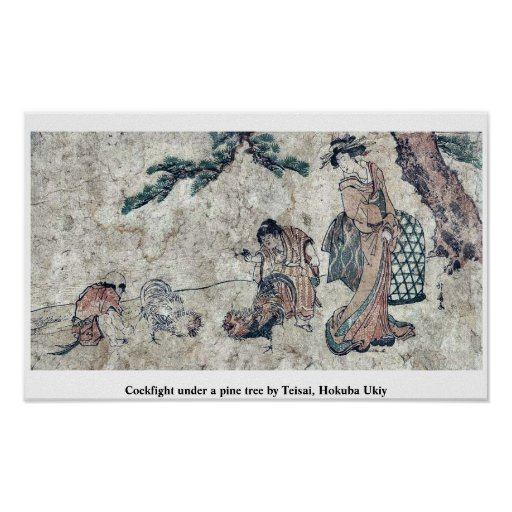 Cockfight under a pine tree by Teisai, Hokuba Ukiy Print