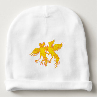 Cockfighting Roosters Cockerel Drawing Baby Beanie