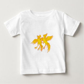 Cockfighting Roosters Cockerel Drawing Baby T-Shirt