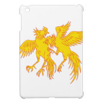 Cockfighting Roosters Cockerel Drawing iPad Mini Cover
