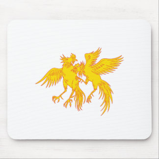 Cockfighting Roosters Cockerel Drawing Mouse Pad