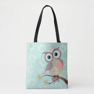 Cocking Head New Fancy Owl All over Print Tote Bag