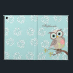 """Cocking Head New Fancy Owl Powis iPad Air Case<br><div class=""""desc"""">The owl in shades of light chocolate brown and its body has a pink rose with lime green leaves and white circular pattern. The wings are in chocolate brown with white pattern. The leaves on a branch are in dark orange, teal, lime. The background is in light teal with white...</div>"""